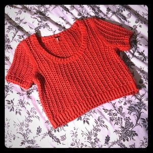 Small red free people sweater